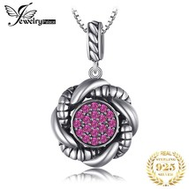 Vintage Round Created Red Ruby Pave Pendants For Women 925 Sterling Silver Fine  - £14.90 GBP