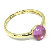 SOLID 18K YELLOW GOLD RING, CABOCHON CENTRAL PINK TOURMALINE, DIAMETER 6mm image 2