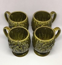 Lot of 4 PEDESTAL MUGS, Vintage, Green Iris Flower pattern, unmarked, co... - $26.18