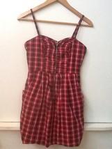 Forever 21 Lined Red, White, Black Plaid Mini Dress w/ Spaghetti Straps,... - $8.95