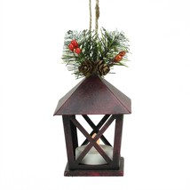 """Midwest 5"""" Rustic LED Red Tone Candle Lantern Pine Foliage Christmas Orn... - $11.62"""