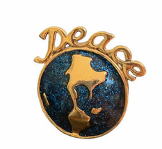 Vintage Avon World Peace Pin Tie Tack Brooch Gold Tone Blue Glitter - $12.86