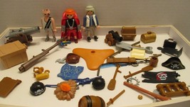 Playmobil Lot of 45 Figures Weapons Treasure Chest Flags Tree Accessories - $15.14