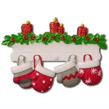 FAMILY OF 4 MITTEN CHRISTMAS ORNAMENT PERSONALIZED HOLIDAY GIFT PRESENT ... - $11.83