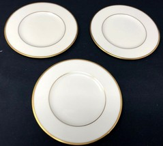 """3 Lenox Ivory w/ Gold Detail 6.5""""D Mansfield Bread and Butter Plates - $35.99"""