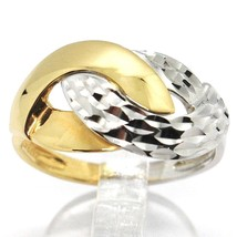 18K WHITE YELLOW GOLD BAND RING, INFINITE, BRAID, WEAVE, HAMMERED AND POLISHED   image 1