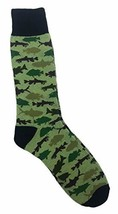 Camouflage Colored Fish Themed Men's Novelty Fashion Crew Socks