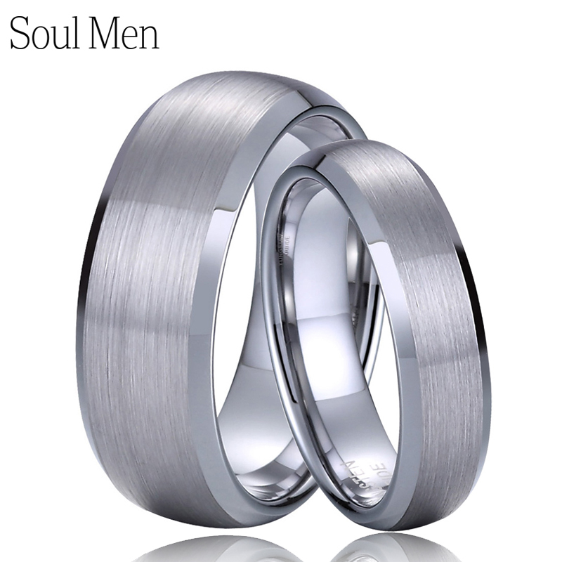 Primary image for 1 Pair Metal Tungsten Carbide Wedding Rings Set 8mm for Men 6mm for Women Comfor