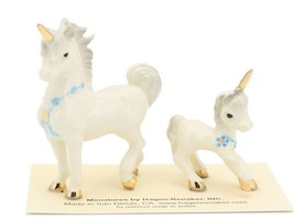 Hagen Renaker Miniature Fantasy Unicorn Papa and Baby Ceramic Figurine Set image 1