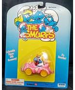 Smurfette Driving Pink Car Convertible Figurine Schleich Super Smurf  - $27.71