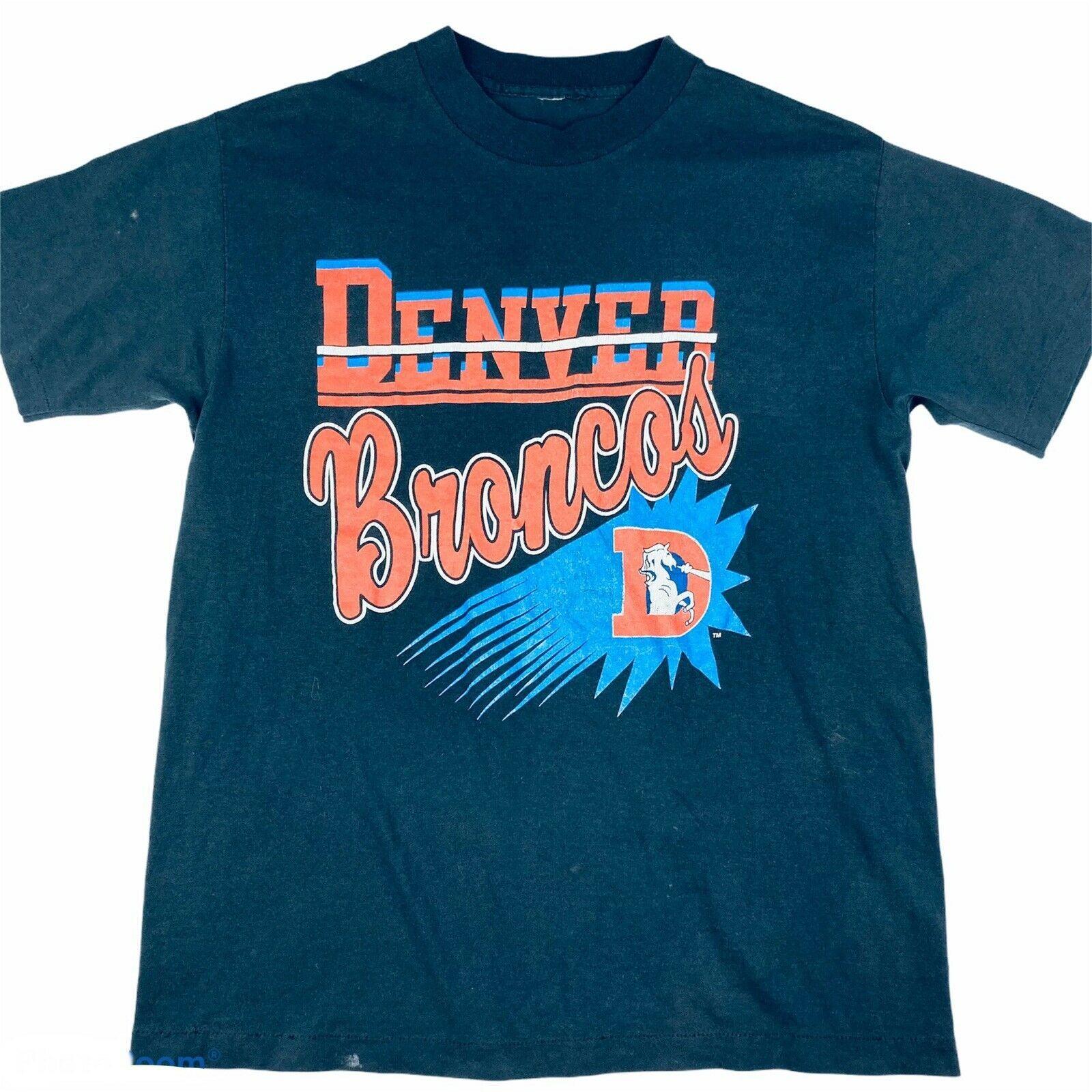 Vintage 80s or 90s Denver Broncos black graphic shirt