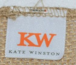 Kate Winslet Brand Brown Burlap Monogram Black White G Garden Flag image 4