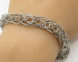925 Sterling Silver - Vintage Intertwined Twisted Detail Chain Bracelet ... - $60.38