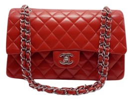 AUTHENTIC Chanel RED Quilted LAMBSKIN MEDIUM DOUBLE FLAP BAG SILVERTONE HW - $4,504.15 CAD