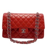AUTHENTIC Chanel RED Quilted LAMBSKIN MEDIUM DOUBLE FLAP BAG SILVERTONE HW - $3,399.99