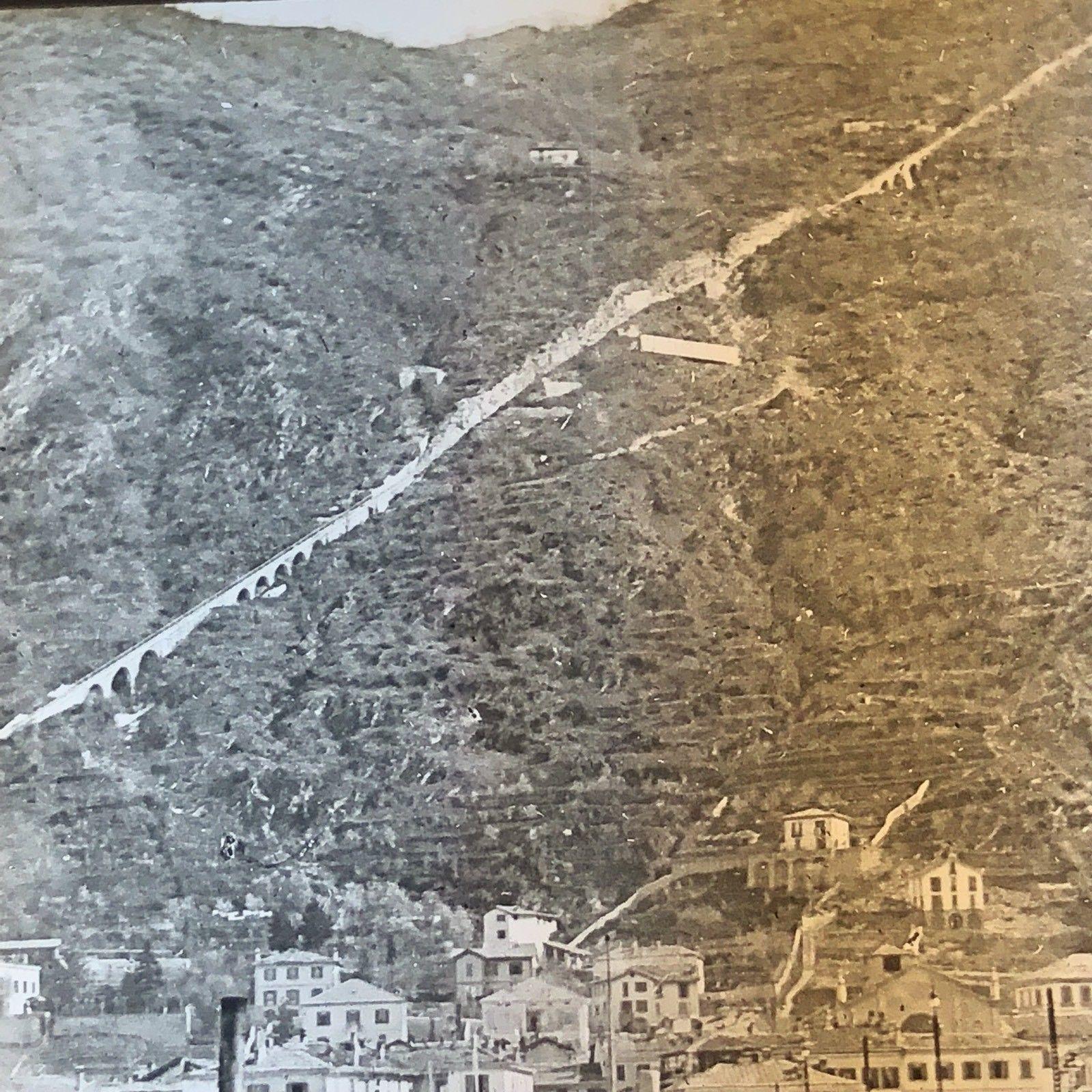 Vtg Keystone Magic Lantern Glass Slide Photo Village Of Como Italy Mountain Rail