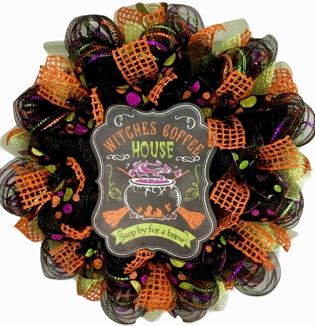 Witches Coffee House Stop By For A Brew Halloween Handmade Deco Mesh Wreath