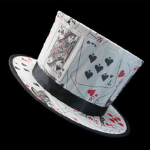 Poker Pattern Folding Spring Magic Hat Magicians High-end Hat Magic Prop... - $31.12