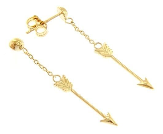 18K YELLOW GOLD ARROW PENDANT EARRINGS 38 MM, 1.5 INCHES, BRIGHT, MADE IN ITALY