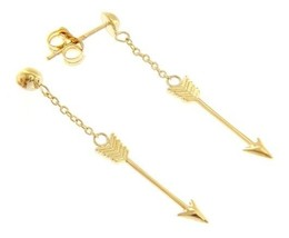 18K YELLOW GOLD ARROW PENDANT EARRINGS 38 MM, 1.5 INCHES, BRIGHT, MADE IN ITALY image 1