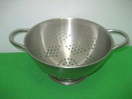 Stainless Steel Kitchen Colander Strainer Drainer Food Rice Pasta with H... - $12.16