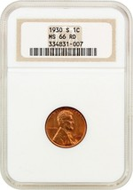 1930-S 1c NGC MS66 RD (OH) Old NGC Holder - Lincoln Cent - Old NGC Holder - $266.75