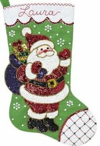 Bucilla Glitz Santa Sparkle Sequin Christmas Holiday Felt Stocking Kit 8... - $38.95