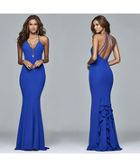 Sexy Back Open Royal Blue Long Prom Dresses Spaghetti Straps Mermaid Wom... - $28.55