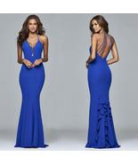 Sexy Back Open Royal Blue Long Prom Dresses Spaghetti Straps Mermaid Wom... - $28.55
