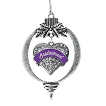 Inspired Silver Purple Bridesmaid Pave Heart Holiday Decoration Christmas Tree O - €12,80 EUR
