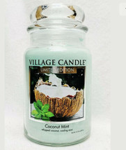 New Village Candle Limited Edition Large 2 Wick COCONUT MINT NEW RARE - $24.00