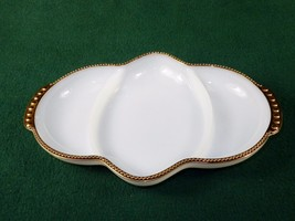 Milk Glass Relish Tray, 3 Sections ~ Hobnail Gold Rim, Anchor Hocking Fi... - $19.55