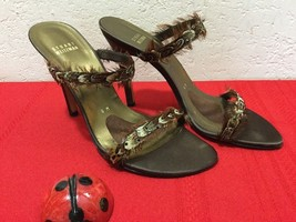 Stuart Weitzman Satin Stiletto Feathers High Heels Open Toe Slip On Brown Sz 8M - $80.00