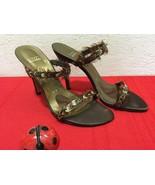 Stuart Weitzman Satin Stiletto Feathers High Heels Open Toe Slip On Brow... - $80.00