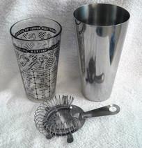 Vintage Glass Steel Cocktail Drink Shaker Strainer Retro Man Cave Black ... - $28.66