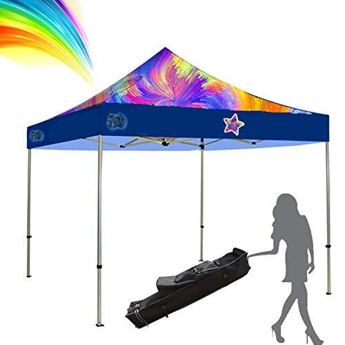 Zisen Custom Pop up Tents 10x10 Canopy Custom Graphics Printed Logo Bonus Roller
