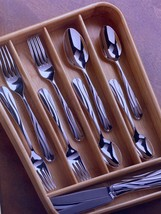 Lenox American By Design Round Bamboo Flatware Drawer Caddy Brown Storage  - $29.99