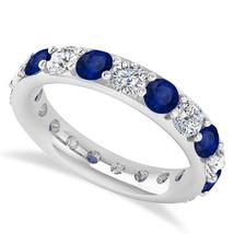 2.85 Ct Round Real Diamond & Sapphire 14K Gold Full Eternity Wedding Ban... - €778,15 EUR