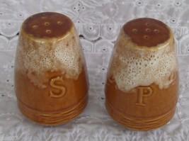 Vintage Lighter Brown Drip Salt & Pepper Shaker Set Made USA Shakers Pair - $14.99
