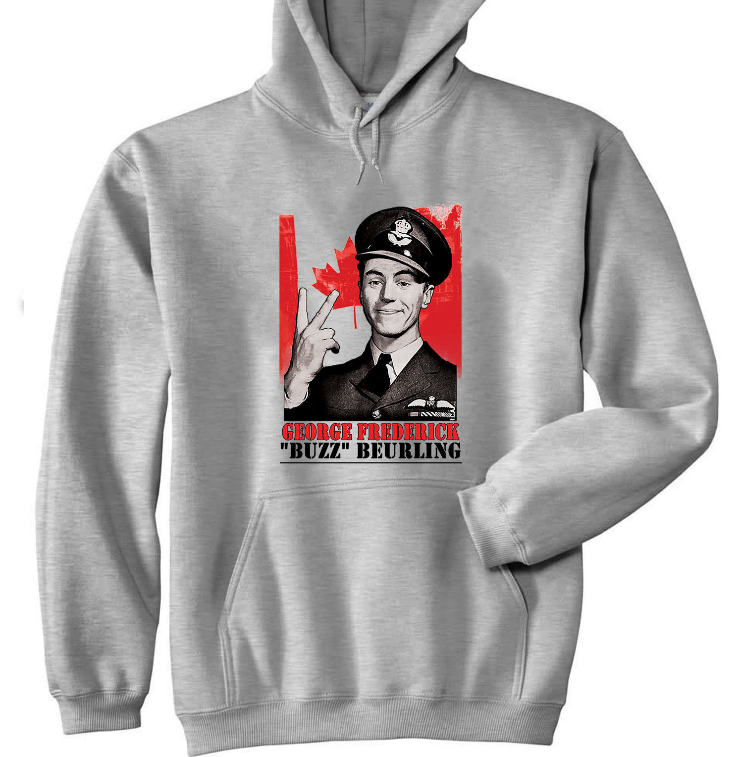 GEORGE BEURLING CANADIAN PILOT - NEW COTTON GREY HOODIE