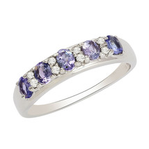 925 Fine Silver 1.24 Ct Oval Cut Tanzanite Gemstone Eternity Women Stack... - $22.02