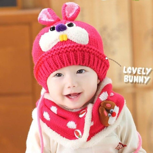 f12ebe6d676 Ter toddler baby warm knitted hats scarf set kids cute rabbit knitting  skullies hats.jpg