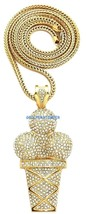 Ice Cream Cone New Pendant with Rhinestones and 36 Inch Long Franco Necklace  - $40.26+