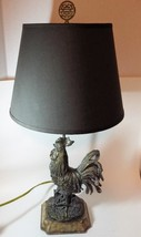 Designer Table Lamp Rooster Chicken Charcoal Shade Country - $48.51