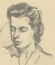 Malcolm Rogers - Signed 1949 Graphite Drawing, Portrait Study of a Lady - $38.44