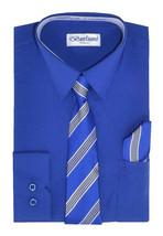 Berlioni Italy Kids Boys Long Sleeve Dress Shirt Set With Tie & Hanky - 16
