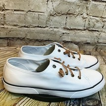 Sperry Top Sider Womens White Canvas Short Lace Casual Sneakers Size 10 - $55.78