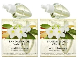Set of 2 Bath & Body Works Sandalwood Vanilla Wallflower Refill Bulb 2-p... - $32.11