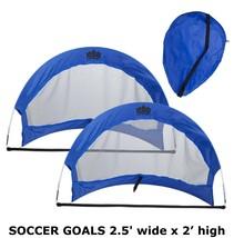 SOCCER GOALS 2.5' wide x 2' high - Set of 2 Pop Up Goals with 2 Carry Ba... - $34.99