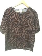 Women's M Medium JENNIFER MOORE Brown Black Animal Print Short Sleeve Sh... - $9.95